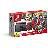 Nintendo Switch - Red + Super Mario Odyssey - Game Console