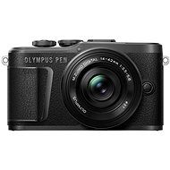 Olympus PEN E-PL10, Black + Pancake Zoom Kit 14-42mm, Black - Digital Camera