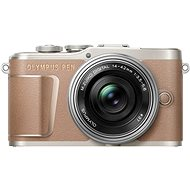 Olympus PEN E-PL10, Brown + Pancake Zoom Kit 14-42mm, Silver