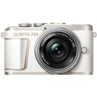 Olympus PEN E-PL10, White + Pancake Zoom Kit 14-42mm, Silver - Digital Camera