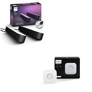Philips Hue White and Colour Ambiance Play Double Pack 78202/30/P7 + Philips Hue Bridge 2.0, Apple H - Smart Lighting Set