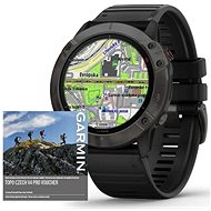 Garmin Fenix 6X Pro Solar, Titanium Grey DLC/Black Band (MAP/Music) - Smartwatch