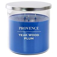Provence candle in glass with lid 1000g, teakwood plum, 3knots - Candle
