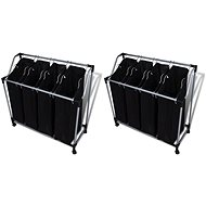 Laundry sorting baskets with bags 2 pcs black-grey 276041 - Laundry Basket