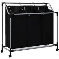 Laundry Sorting Basket with 3 Bags Black Steel 282426 - Laundry Basket