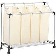 Laundry sorting basket with 4 bags cream steel 282428 - Laundry Basket