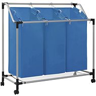 Laundry sorting basket with 3 bags blue steel 288331 - Laundry Basket