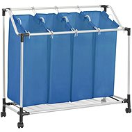 Laundry sorting basket with 4 bags blue steel 288332 - Laundry Basket