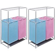 Double Sorting Basket for Dirty Laundry 2 pcs with Drying Shelf 3051493 - Laundry Basket
