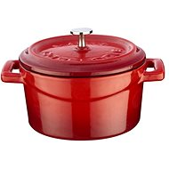 LAVA METAL Cast Iron Mini Pot Round 10cm - Red/White - Pot