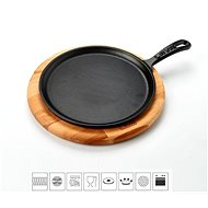 LAVA METAL Cast Iron Pan  for Pizza/Pancakes 26cm with Wooden Base - Pan