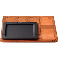 LAVA METAL Cast iron serving plate 22x22cm with wooden base - Plate