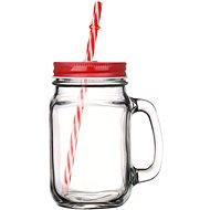 GLASMARK Glass with Lid and Straw 400ml - Red - Glass