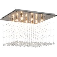 Ceiling Light with Crystal Beads Silver Cubic G9 - Ceiling Light