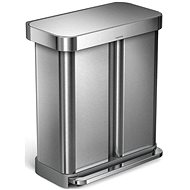 Simplehuman 58l Rectangular Pedal Dual Compartment Stainless Steel, FPP