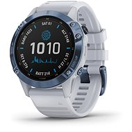 Garmin Fenix 6 Pro Solar, Mineral Blue, Whitestone Band - Smartwatch