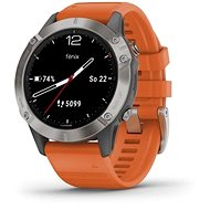 Garmin Fenix 6 Sapphire, Titanium/Orange Band (MAP/Music) - Smartwatch