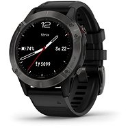 Garmin Fenix 6 Sapphire, Grey/Black Band (MAP/Music) - Smartwatch