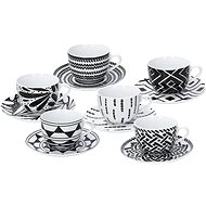 Tognana Tea Set with Saucers, 220ml, METROPOLIS MANDALA, BLACK - Mug