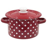 TORO Enamel Pot with Lid, 5,5l, Polka Dot Decor - Pot