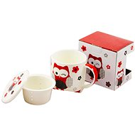 HOME ELEMENTS Porcelain Mug 390ml with Strainer and Lid - Red Owl