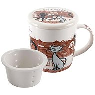 HOME ELEMENTS Porcelain Mug Cats in the City with Strainer and Lid 390ml