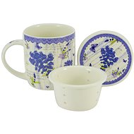 HOME ELEMENTS Porcelain Mug 390ml with Strainer and Lid - New Lavender