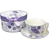 HOME ELEMENTS Porcelain Coffee Cup and Saucer - Purple Owl - Tea cup