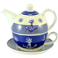 HOME ELEMENTS Tea Set for One, Navy - Set of Cups