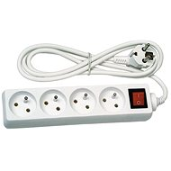 Solight Extension Lead, 4 sockets, white, switch, 5m