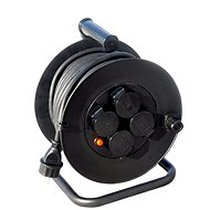 Solight Extension Cable Reel, outdoor, 4 sockets, black, 50m