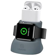 USAMS US-ZJ051 2in1 Silicon Charging Holder For Apple Watch And AirPods gray - Stand