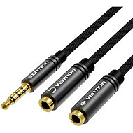 Vention Fabric Braided 3.5mm Male to 2x 3.5mm Female Stereo Splitter Cable, 0.3m, Black, Metal Type - Audio Cable