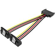 Vention SATA 15P (M) to 2x 15P SATA 90° (F) Power Splitter Cable 0.15M Black