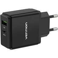 Vention USB-A Quick 3.0 18W + USB-C PD 20W Wall Charger Black - AC Adapter