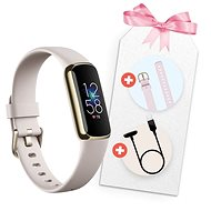 Fitbit Luxe Gift Pack - Lunar White/Soft Gold Stainless Steel - Fitness náramek