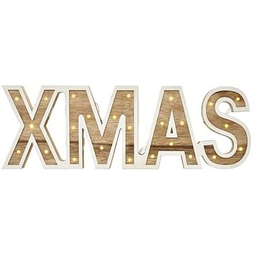 LED XMAS Sign Wooden, 45cm, 2x AA, Indoor, Warm White