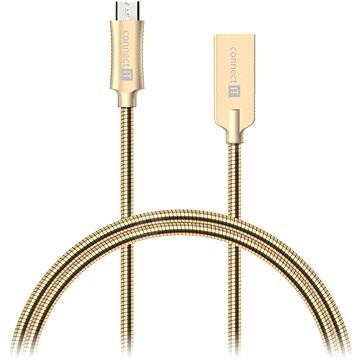 CONNECT IT Wirez Steel Knight Micro USB 1m, metallic gold