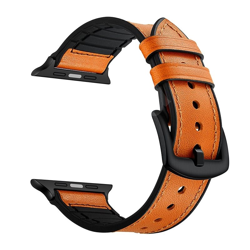 Eternico 42mm / 44mm / 45mm Leather and Silicone Band Orange for Apple Watch - Watch Band