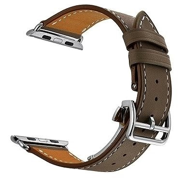 Eternico 42mm / 44mm / 45mm Leather Strap Dark Brown for Apple Watch - Watch Band