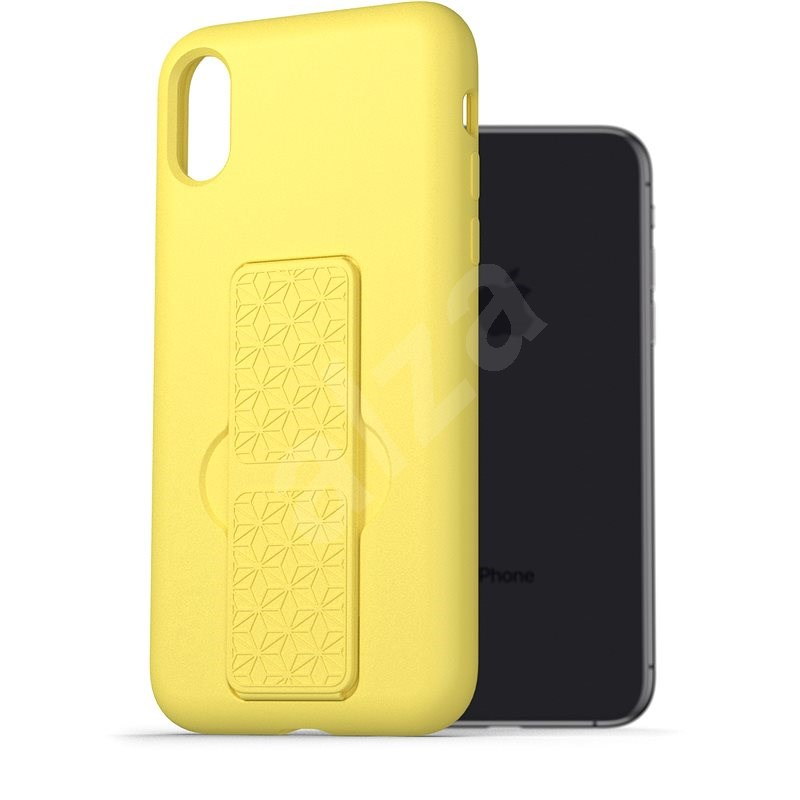 AlzaGuard Liquid Silicone Case with Stand for iPhone X/Xs Yellow - Mobile Case