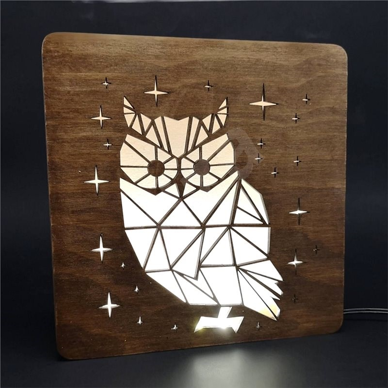 AMADEA Wooden lamp with owl motif, size 20 cm, with LED lighting with 12V transformer - Lamp