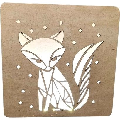 AMADEA Wooden Lamp with with Fox Motif, size 20cm, with LED Lighting with a 12V Transformer - Lamp