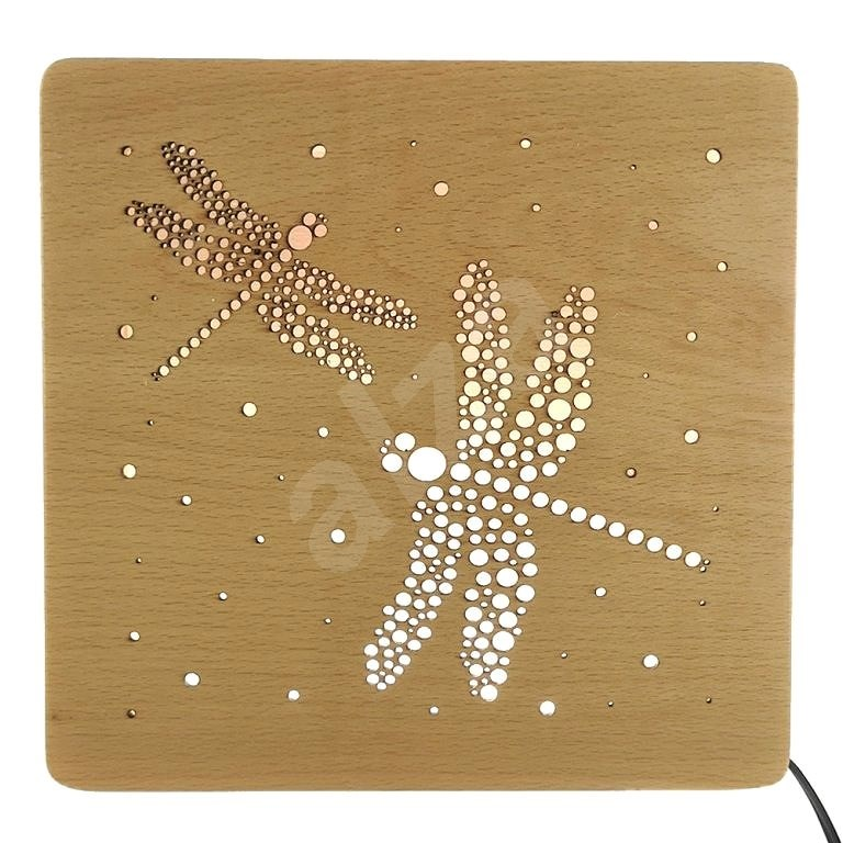 AMADEA Wooden Lamp with Dragonfly Motif, size 20cm, with LED lighting with 12V transformer - Lamp