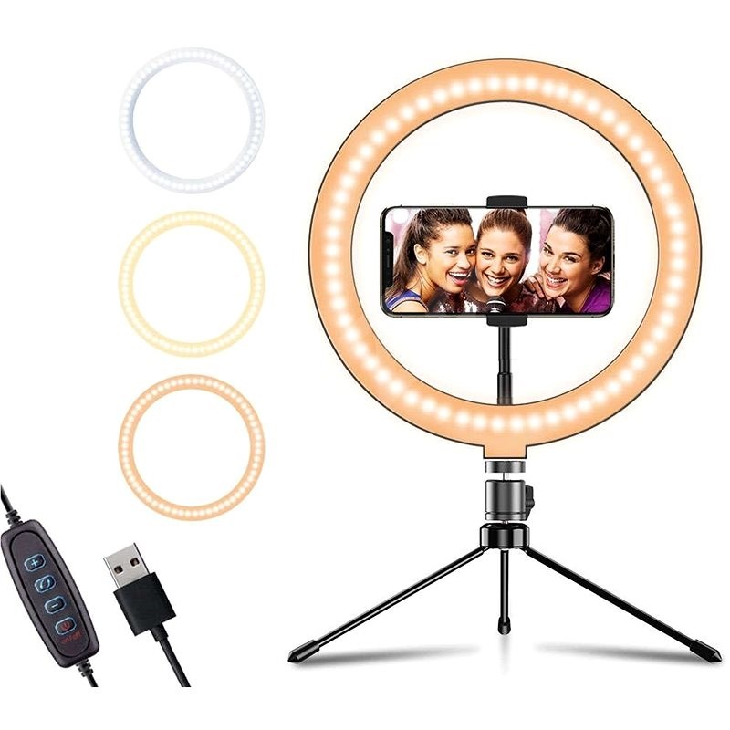 """Apexel Ring Light 10"""" with Stand and Holder - Photo Lighting"""
