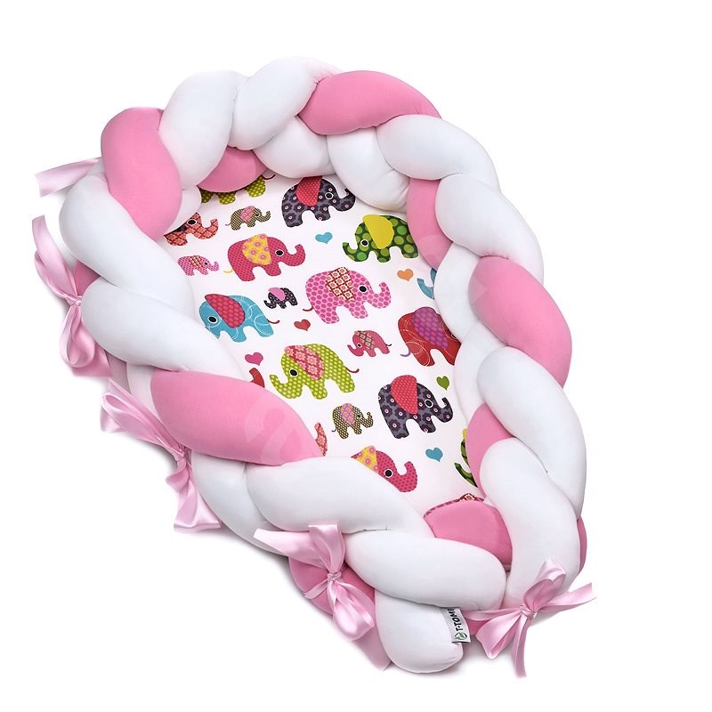 T-tomi Knitted Nest 2in1 Pink Elephant - Baby Nest