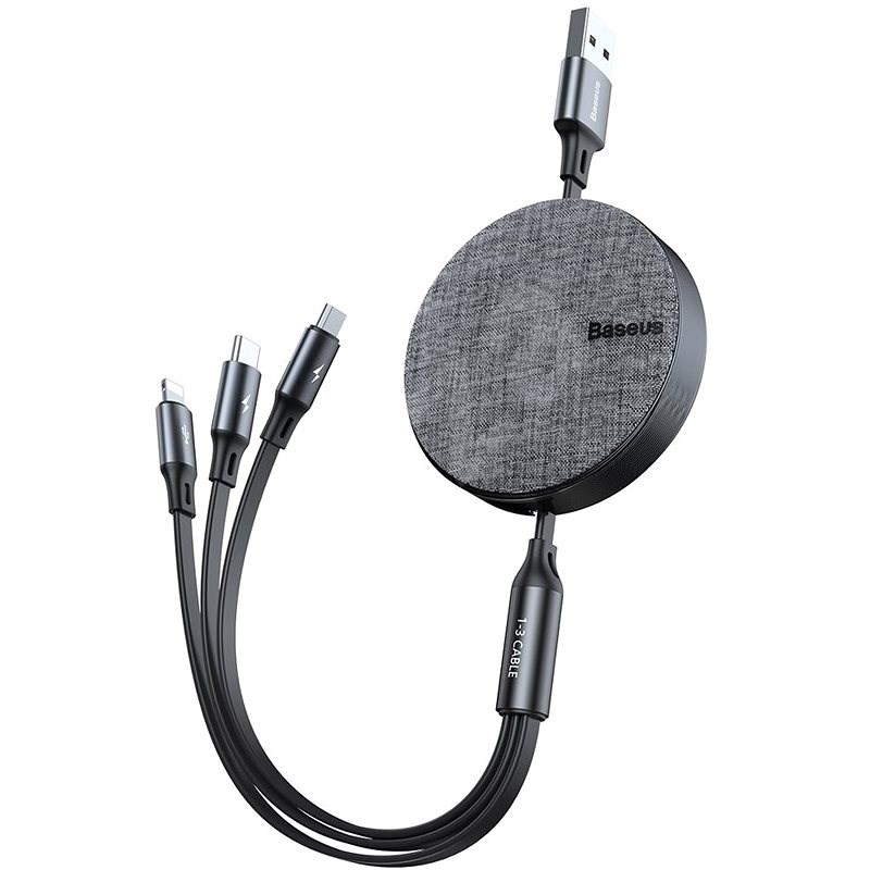 Baseus Fabric 3-in-1 Flexible Cable USB-C + Lightning + microUSB, 1.2m, Grey - Data Cable