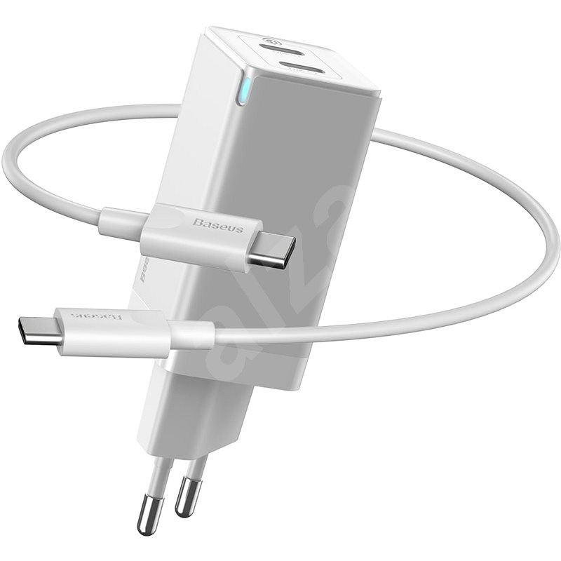 Baseus GaN Dual USB-C Quick Travel Charger 45W + Type-C (USB-C) Cable 60W 1m White - AC Adapter