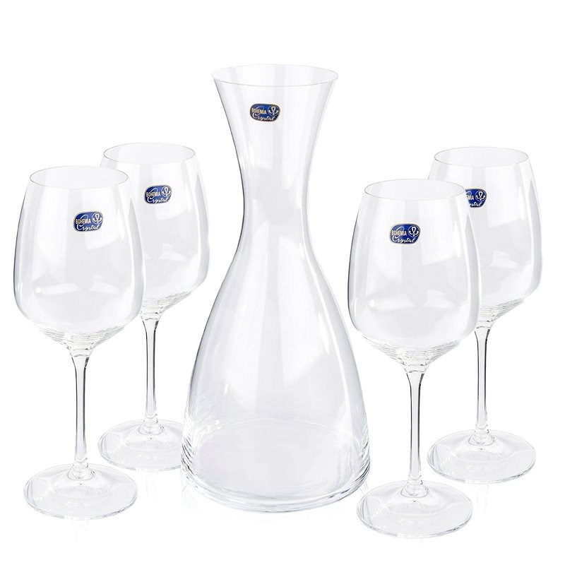 Crystalex Wine decanter and glass set GISELLE WINE SET 5pcs - Red Wine Glass