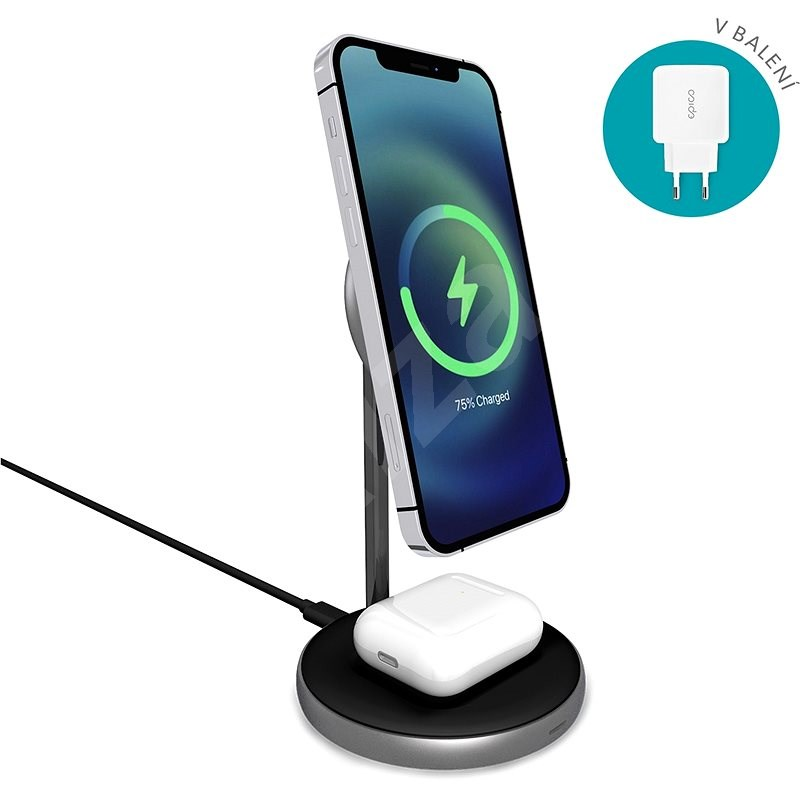 Epico Magnetic 2in1 Wireless Charger (MagSafe Compatible) 15W/10W/7.5W + 18W QC Black - Wireless Charger